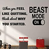 Nezyo 2 Pieces Vinyl Wall Art Decal Beast Mode Positive Quote Sticker When You Feel Like Quitting Think About Why You Started Inspirational Wall Decal Gym Fitness Office Home Motivational Wall Decor