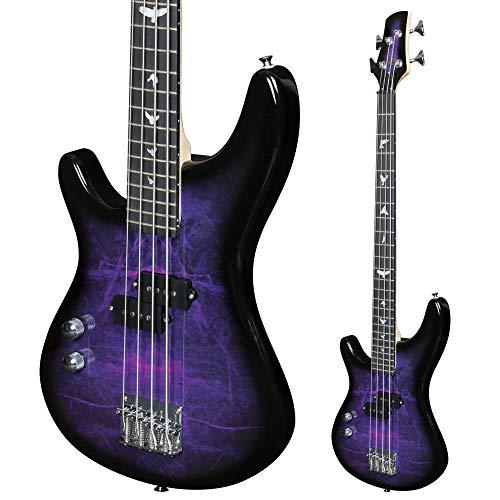 Lindo Guitarra baja eléctrica para zurdos PDB de escala corta, color morado