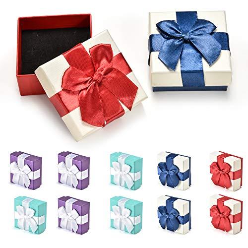 INSOUR 12 Stücke Klein Geschenkbox Quadratische Pappschachteln Schmuckschatulle mit Deckel für Hochzeit Weihnachten Geburtstagsgeschenk, 7,3x7,3x3,5cm