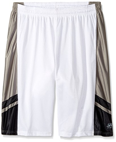 Southpole Men's Big and Tall Basic Basketball Mesh Shorts, White, 4XB