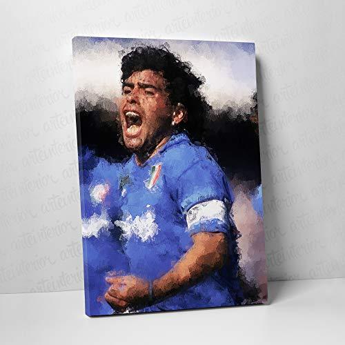 Quadro Diego Armando Maradona | Stampa Fine Art ad Alta Definizione su Tela Canvas Giclée | Napoli Calcio (100x140 cm)