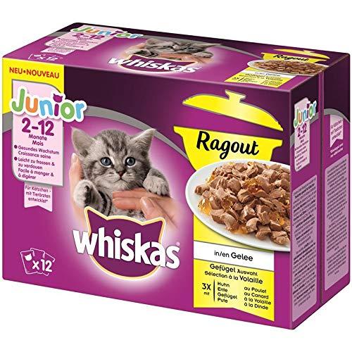whiskas Multipack Junior Ragout Geflügelauswahl   48x 85g Katzenfutter