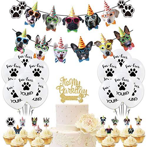 Amycute Hunde Geburtstag Deko,Hund Geburtstag Set,Gesicht Geburtstag Banner,Hundetatzen-Druckballone,Tortendeko Hunde,Hund Geburtstag Party Bunting Dekoration.