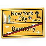New York City Kunststoff Schild Gelb, Geschenk für sie - New York Amerika Reise / süße Deko NYC Fans, Wanddeko, Türschild Mädchen Wohnung, Geschenkidee Geburtstagsgeschenk Freundin, Party Deko