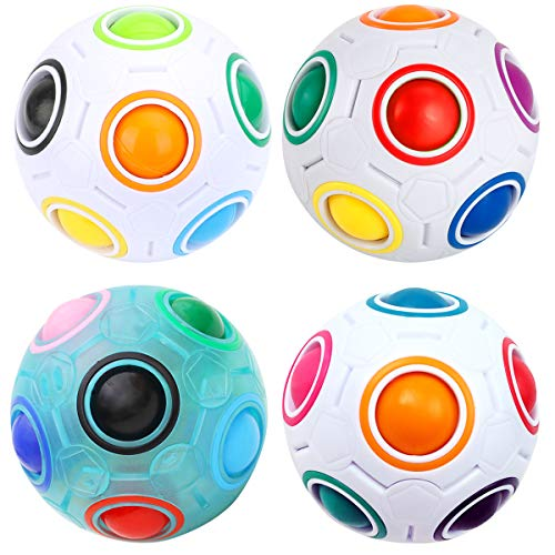 KidsPark 4 Stück Magic Ball Regenbogen Ball Zauberwürfel 3D Puzzle Ball Speed Cube Würfel Regenbogenball Toy Pädagogische Spielzeug