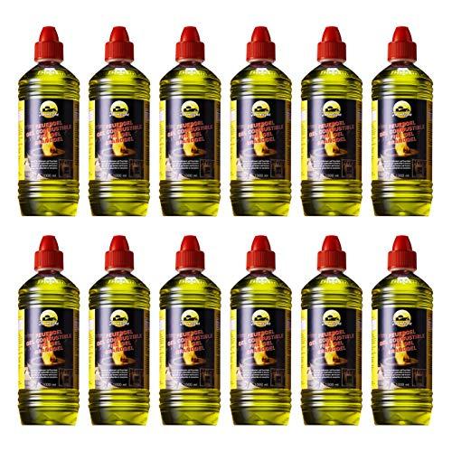 FARMLIGHT Comb 12 x 1 combustibile Bio, per bracieri e caminetti a Gel di bioetanolo 12 Bottiglie da 1 litro, Yellow, 12 litri