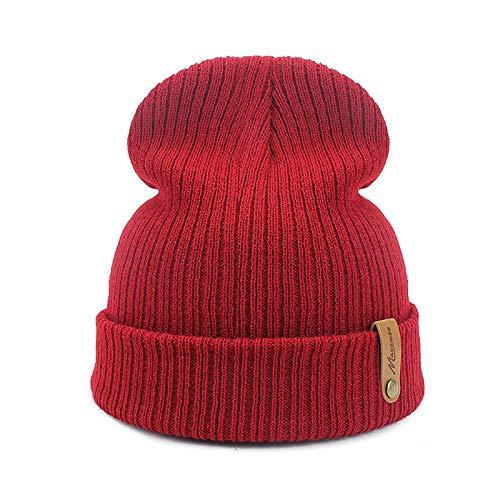 JIAXINJIE Papá Gorra Roja Crochet Otoño Invierno Mujeres Hombres Unisex Gorros De Punto Gorras Sombreros Sólidos Pasamontañas Gorros Sombrero