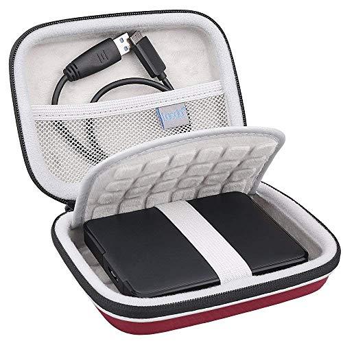 Lacdo 2.5 Zoll Externe Festplattentasche Hard Drive Case für Seagate Portable Drive/Seagate Expansion/Seagate Game Drive/WD Elements My Passport 1TB 2TB 3TB 4TB 5TB HDD wasserdicht Schutzhülle, Rot