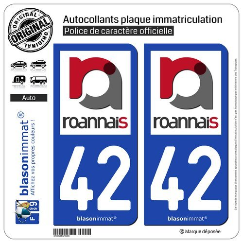 Blasonimmat - 2 pegatinas para placa de matrícula de coche 42 Roanne - Agglo