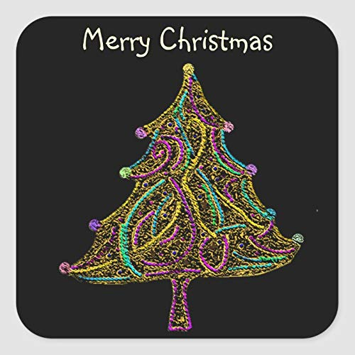 Etiquetas cuadradas de vinilo para árbol de Navidad eléctrico de neón de...