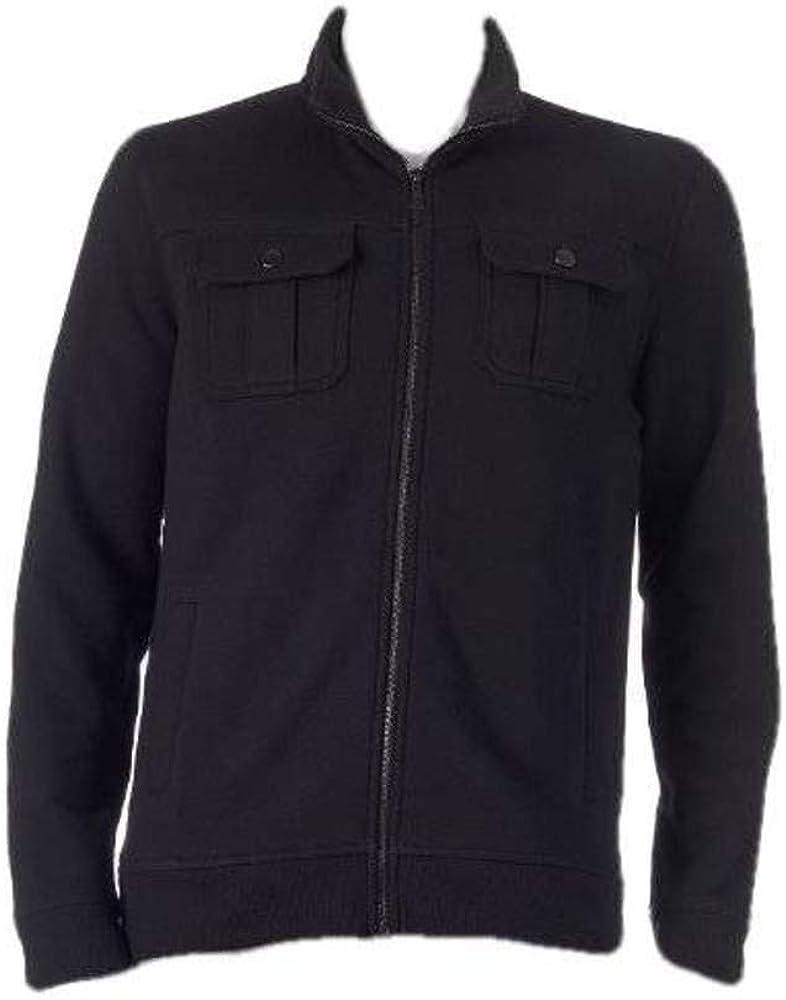 Apt 9 Men's Black Modern Fit 4 Pocket Marled Fleece Military Jacket Coat-Size MT
