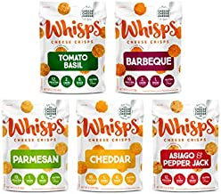 Whisps Cheese Crisps 5-Flavor Variety Pack   Tomato Basil, Barbeque, Parmesan, Cheddar, Asiago & Pepper Jack   Keto Snack, Gluten Free, Low Sugar, Low Carb, High Protein   2.12oz (5 Pack)