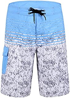 Nonwe Men's Quick Dry Swim Trunks Colorful Stripe Beach Shorts with Mesh Lining