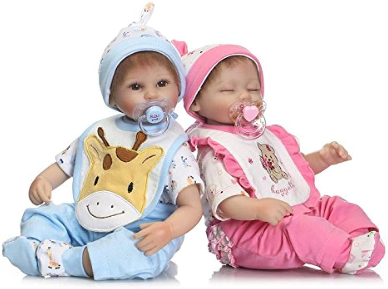 ZIYIUI One Pair 17  Silicone Baby Twins Dolls Real Life Baby Dolls Soft Vinyl Reborn Lifelike Newborn Baby Toy Gift