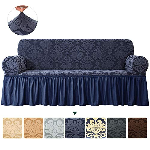 CHUN YI Stretch Sofa Slipcover 1-Piece Fitted Damask Elegant Loveseat Cover 2 Seater Coat All-Purpose Universal Furniture Protector with Skirt, Medium, Dark Blue