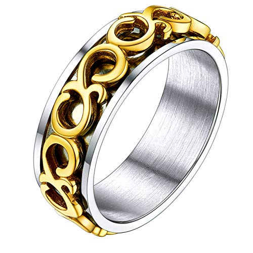U7 Stainless Steel 6.5MM Polished Band 18K Gold Plated Celtic Knot Spinner Ring for Men Women, Size 10