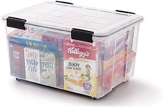 BBZZ Boîte de rangement avec couvercle, 60 L, robuste, empilable, en plastique transparent, avec poulie (couleur : transpa...