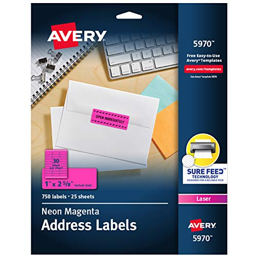 """Avery Neon Address Labels with Sure Feed for Laser Printers, 1 x 2 5/8"""", 750 Pink Stickers (5970), Neon Magenta"""