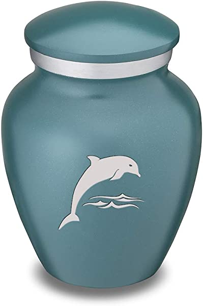 GetUrns Keepsake Embrace Teal Dolphin Cremation Urn For Ashes