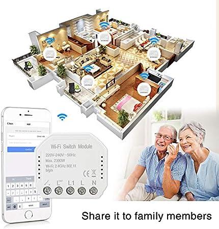1c switch Interruptor de regulador de intensidad de luz LED inteligente WiFi DIY Smart Life//Tuya APP mando a distancia 1//2 modo interruptor funciona con Alexa Echo Google Home