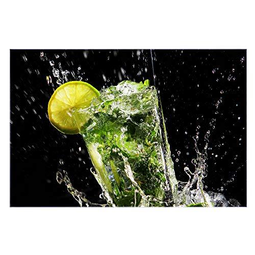 banjado Glas Spritzschutz für Küche und Herd | Küchenrückwand mit Motiv Brasilianischer Cocktail | Glasrückwand selbstklebend ohne Bohren | Küchenspiegel magnetisch und beschreibbar (75x50cm)
