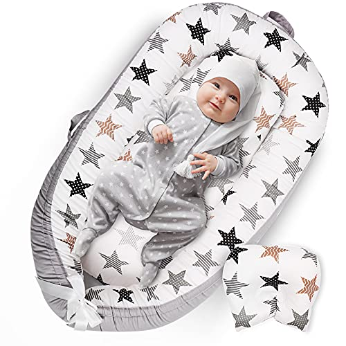 Uaugh Star Baby Lounger with Pillow & Baby Nest for Bassinet Mattress, Infant Nest Lounger & Cotton Newborn Lounger for Bed Co-Sleeping, Baby Nest Sleeper, Essential Baby Shower Gifts (0-12 Month)