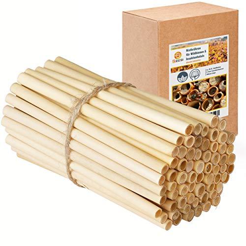 BEESI 95x Nisthülsen 14 cm lang für Insektenhotel aus Schilf I Durchmesser 4-7 mm inkl. E-Book I Für Bienenhotel Nisthilfe I Niströhren für Wildbienen