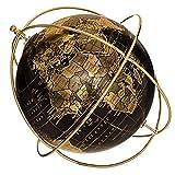 Globo terráqueo vintage negro y dorado – Diseño de escritorio – Estructura giratoria de metal Diámetro 25 cm – Decoración educativa geográfica y regalo de clase