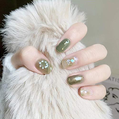 Uñas postizas 24 piezas fresco Matcha verde Luna estrellas patrón Paillette decorado tinte uñas falsas verano playa usable temperamento uñas T