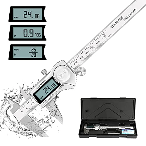 Digital Calipers 6 Inches, POWERGIANT Vernier Caliper Measuring Tool, Electronic Micrometer with IP54 Waterproof, Inch/Metric/Fraction Conversion,150mm with Large LCD, Stainless Steel