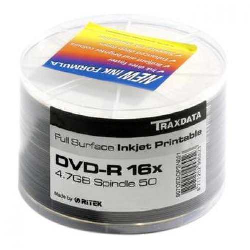 Traxdata 907WEDRPSN001 Spindle, Pack de 50 DVD-R (16x, 47 GB/120 min, Printable), Color Blanco