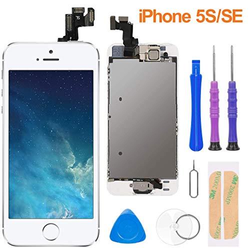"""FLYLINKTECH Display per iPhone 5S/SE Schermo Vetro 4,0"""" LCD Touch Screen Digitizer Parti di Ricambio (con Home Pulsante, Fotocamera, Sensore Flex) Kit Smontaggio trasformazione"""