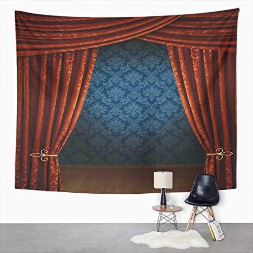 Y·JIANG Tapiz clásico, clásico escenario teatro victoriano Borgoña dormitorio decorativo gran tapiz, manta para colgar en la sala de estar, dormitorio, 80 x 60 pulgadas