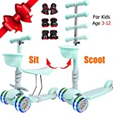 Scooters for Kids, 3 Wheel Toddler Scooter with Removable Seat, Adjustable Height Kids Kick Scooter for Toddlers, Boys, Girls Age 3-12 with LED Light, Fun Outdoor Sport Toy for Kids