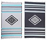 Bersuse Cancun - Toalla turca, 100% algodón orgánico, 94 x 178 cm, Color Agua/Gris, 1 Pieza - Cancun_Pest_Aqua