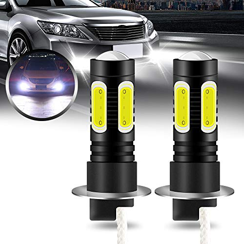 yifengshun 2X H3 LED COB Bombillas Antiniebla Alta Potencia 7.5W Súper Brillante Xenón Blanco 6500K para Luz Diurna Luces DRL Impermeables 12V