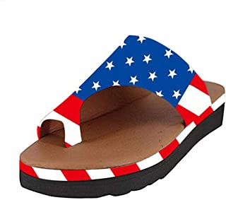 Haalife◕‿Women Open Toe flatorm Sandals Slide on Platform Soft Rubble Sandals Summer Beach Shoes with American Flag Print