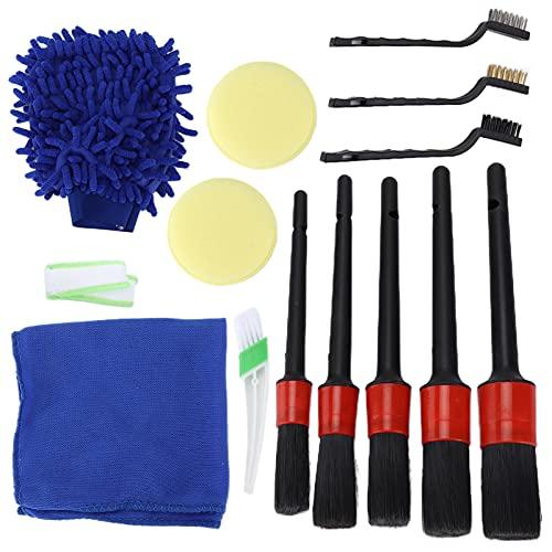 Spazzola per dettagli, 14 pezzi/set Kit spazzole per dettagli Strumento per la pulizia dello scrub per le ruote del condizionatore d'aria per interni auto esterni