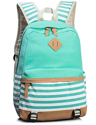 Leaper Navy Style School Laptop Backpack Girls Canvas Bookbag Water Blue