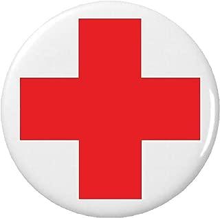 Red & White Cross Symbol Sign Button Pin Medical Alert Safety Lifeguard Nurse