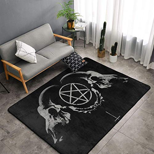 Teppich für Esszimmer, Wohnzimmer, Schlafzimmer, rutschfest, weich, maschinenwaschbar, Gothic-Stil, Totenkopf, Satan Penta