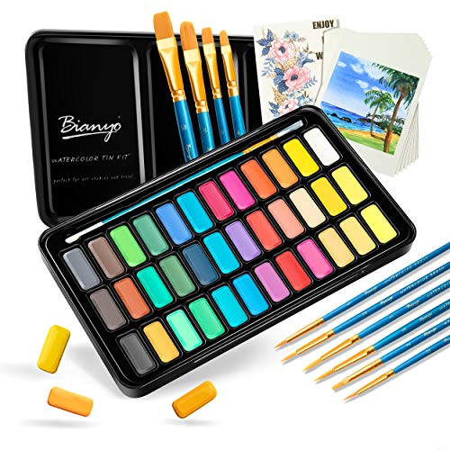 36 Colors Watercolor Paint Set with 10+1 pcs Watercolor Brushes, 8 pcs Watercolor Paper, a Watercolor Paper Swatch and a Zipper Pouch by Bianyo