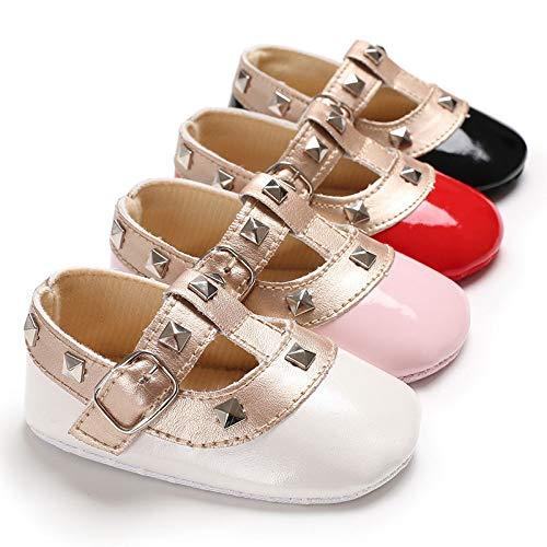 PMSMT Otoño Nuevo 0-12 Meses Zapatos de Princesa para bebés de Fondo Suave Pegatina mágica Remache de Moda para bebés Primeros Caminantes
