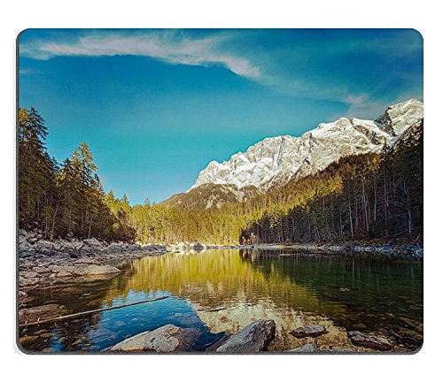 Goobull Luxlady Natural Rubber Gaming Mousepads Vintage Retro Hipster Style Travel Image of Frillensee Small Lake Near Eibsee e Zugspitze la più Alta Montagna in Germany Image ID 27541945