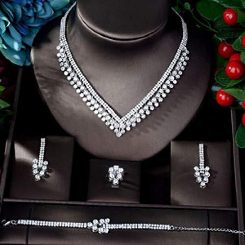 LIYDENG Conjuntos de joyería para mujer, diseño de hojas de circonita, cobre, 4 piezas (color: chapado en oro blanco)