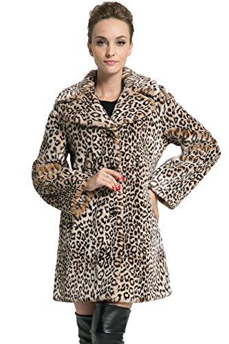 Ovonzo Liquidación Abrigo de Piel Sintética con Estampado de Leopardo Chaqueta de Longitud Media para Mujer Tamaño XXL