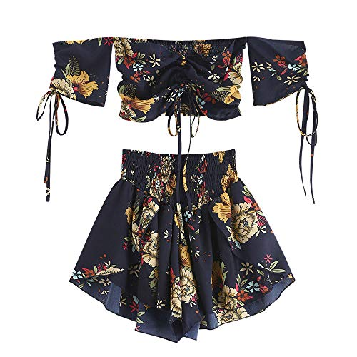 ZAFUL Damen Floral Schulterfrei Smocked Shorts Set Blume Cinched Top Suit Blau S