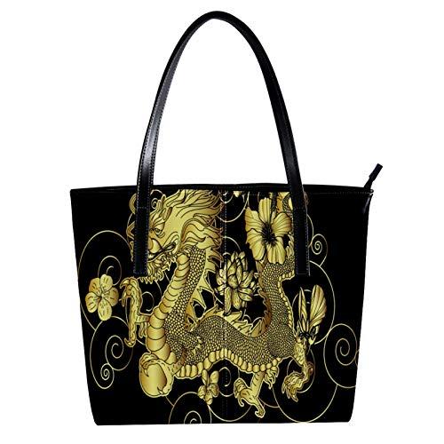 Damen Mikrofaser-Leder Tote Schultertasche Große Kapazität Handtasche Mode für Mädchen Golden Dragon 39,9 x 29 x 8,9 cm