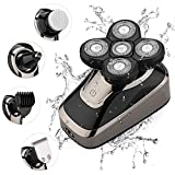 Hieha Electric Razor for Men Head Shavers Bald Men Grooming Kit, 5D Beard Trimmer Cordless Rechargeable Wet Dry Rotary Shaver with Clippers Nose Hair Trimmer Facial Cleansing Brush, IPX7 Waterproof