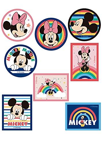 8 Parches termoadhesivos para la ropa. Apliques serigrafiados para planchar sobre camisetas, bata escolar, jeans, chaquetas. Diseño personajes Disney: Michey Mouse y Minnie Mouse: - REF. 6889-U8
